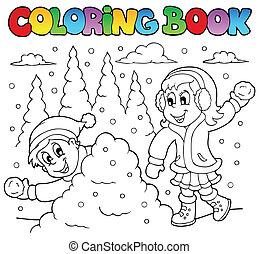 coloração, tema, 2, livro, inverno