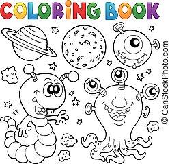 coloração, tema, 2, livro, monstro