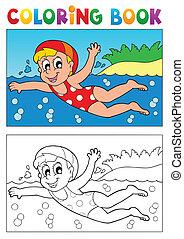 coloração, tema, 2, livro, natação