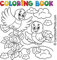 coloração, tema, 2, livro, pássaro