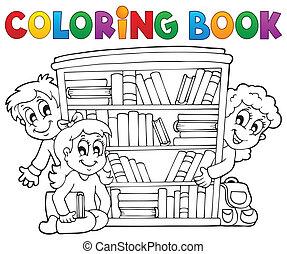 coloração, tema, 2, livro, pupila