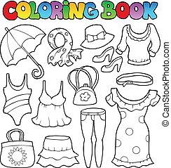 coloração, tema, 2, livro, roupas