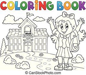 coloração, tema, 2, pupila, menina, livro, feliz