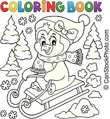 coloração, tema, 2, sledging, livro, pingüim