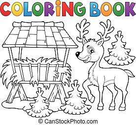 coloração, tema, 2, veado, livro