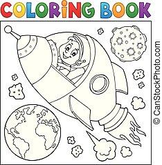 coloração, tema, espaço, livro, 2