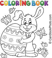 coloração, tema, livro, coelho, 8, páscoa