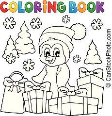 coloração, topic, 3, livro, natal, pingüim
