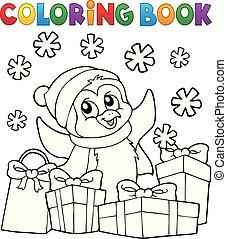 coloração, topic, livro, 2, natal, pingüim
