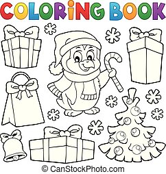coloração, topic, livro, 4, natal, pingüim