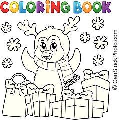coloração, topic, livro, 5, natal, pingüim