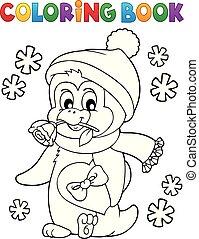 coloração, valentine, 1, livro, pingüim, feliz