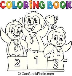 coloração, vencedores, 1, tema, livro, pingüim