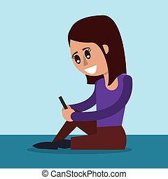 colora experiência, de, assento mulher, com, smartphone, em, vista lateral