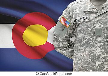 colorado, -, állam, bennünket, katona, lobogó, háttér, amerikai