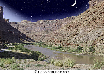 colorado, 星が多い, 上に, 夜, 川, u.s.a 。