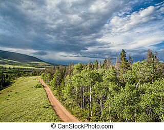 Colorado backcountry road aerial view