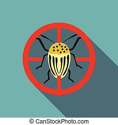 Colorado beetle icon, flat style