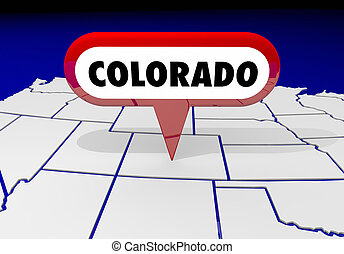 colorado, co, carte état, épingle, emplacement, destination, 3d, illustration