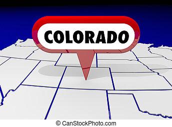 colorado, co, carte état, épingle, emplacement, destination, 3d, illustration