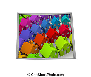 Colorado CO Homes Homes Map New Real Estate Development 3d Illustration