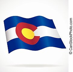 colorado co state flag flying waving vector