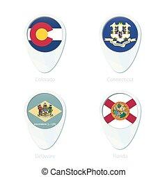 Colorado, Connecticut, Delaware, Florida flag location map pin icon.