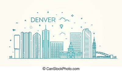 Colorado, Denver. City skyline. Architecture, buildings, landscape, panorama, landmarks, icons