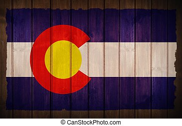 Colorado Flag on Wood - Colorado Flag Old Wood Background