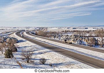 Colorado freeway ain winter - I-25 freeway in winter scenery...