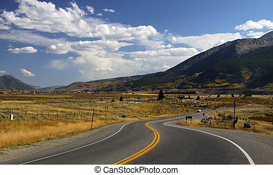 Scenic byway in south west Colorado during autumn time
