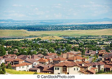 Colorado Living. Lakewood Colorado - Denver Metro Area Residential Area Panorama. United States.
