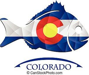 colorado., logo, fish, fait, drapeau
