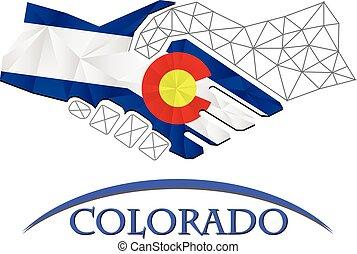 colorado., logo, poignée main, fait, drapeau