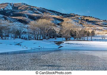 Colorado mountain lake in winter