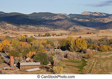 Bellvue and Pleasant Valley with Greyrock in northern Colorado near Fort Collins, a town and farmland in fall scenery