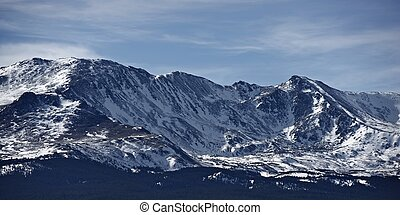Colorado Mountains in Snow. Mountains Panorama in Early...
