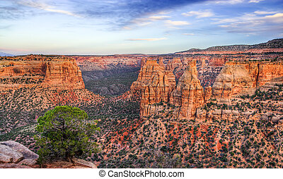 Colorado National Monument Scenic Landscape at Dusk -...