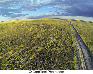 Colorado prairie in sunset light - aerial view of Pawnee ...