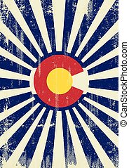 Colorado retro sunbeams - A vintage colorado poster with...