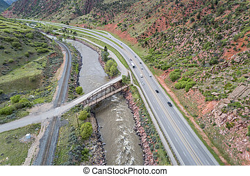 Colorado River and highway aerial view