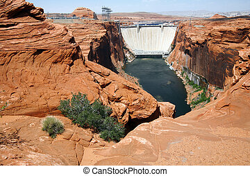 Colorado river in Glen Canyon and Dam before Lake Powell , Arizona, USA
