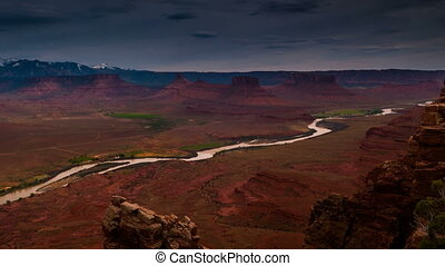 Colorado River Professor Valley Utah Famous USA Southwest Landscape Time-lapse 4k