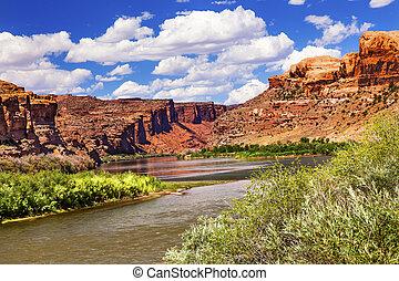 Colorado River Reflection Green Grass Red Rock Canyon ...