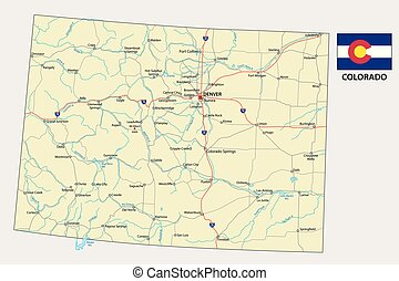 colorado road vector map with flag