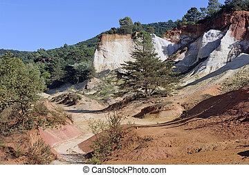 colorado, seis, gerações, mineiros, cavado, paisagem, provencal, ocre, vermelho