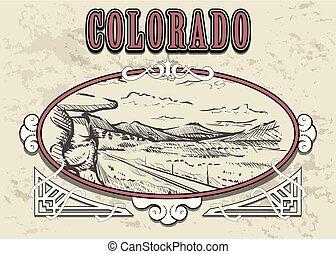 Colorado skyline hand drawn. Colorado sketch style vector illustration