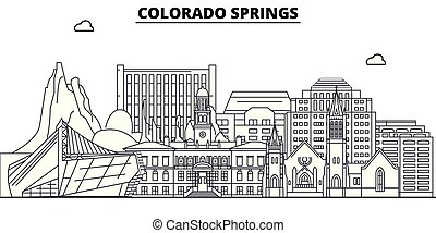 Colorado Springs , United States, outline travel skyline ...