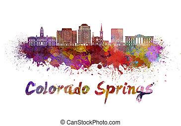 Colorado Springs V2 skyline in watercolor