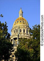 Close up shot of Colorado state capital building